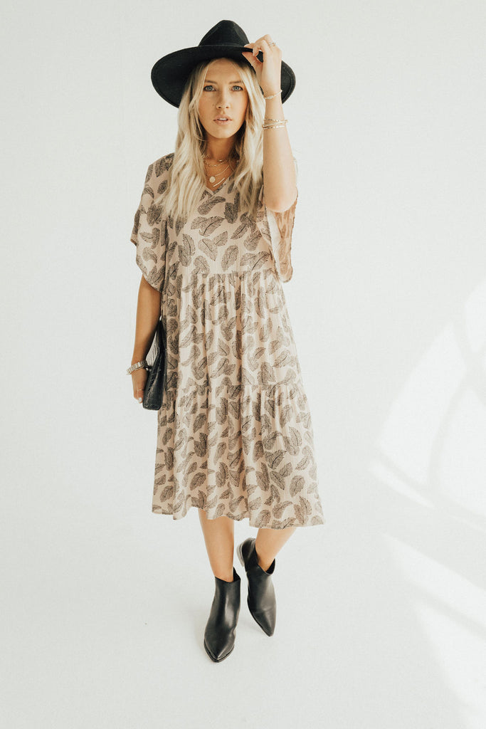 """Valencia"" Tiered Midi Dress, Black and Cream"
