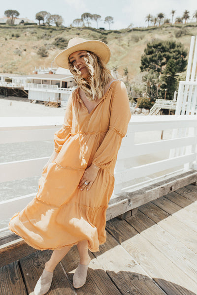 """Ava"" Boho Maxi Dress, Ginger"