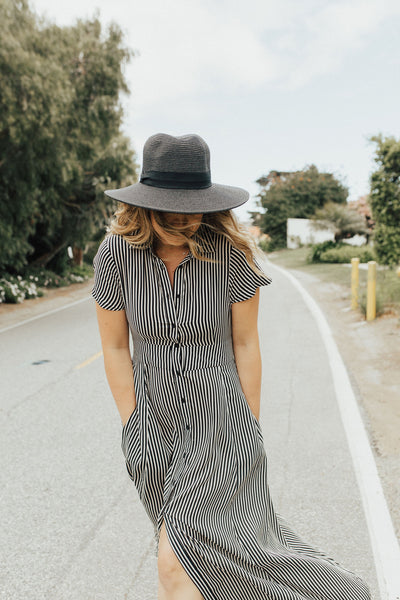 """May"" Maxi Dress, Black Stripes"