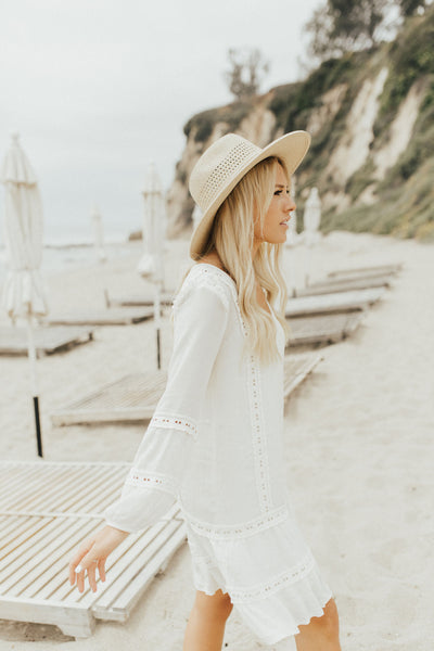 """Lacey"" Boho Dress, Ivory"