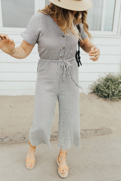 """Brighton"" Striped Jumpsuit, Ivory and Black"
