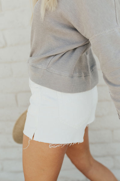 """June"" High Rise Shorts, Sea Salt Wash"