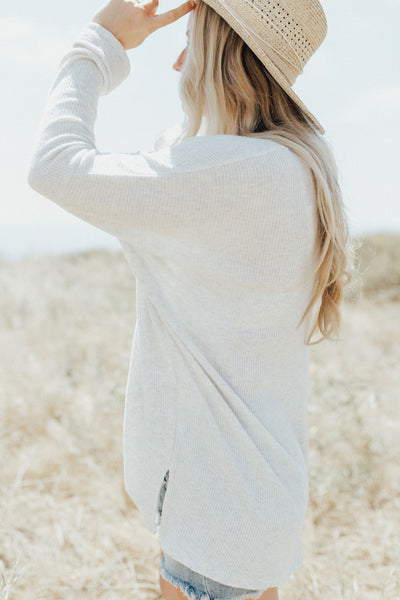 """Evelyn"" Sweater, Light Heather Grey"