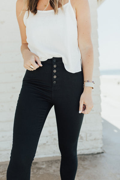 """Sarah"" High Rise Button Fly Jeans, Black"