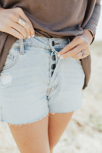 """Clementine"" High Rise Shorts, Light Wash"