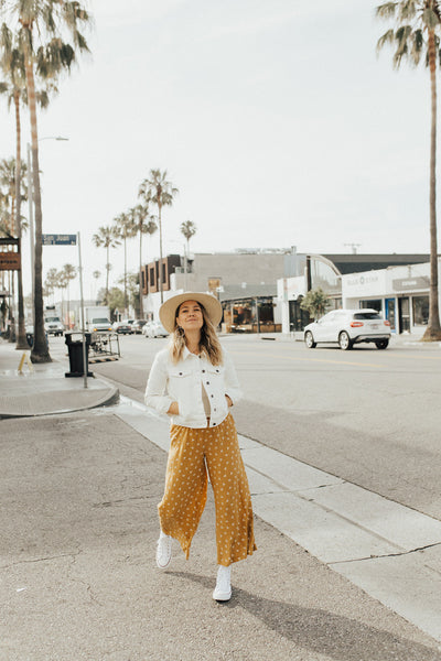 """Jocelyn"" Pants, Mustard Print"