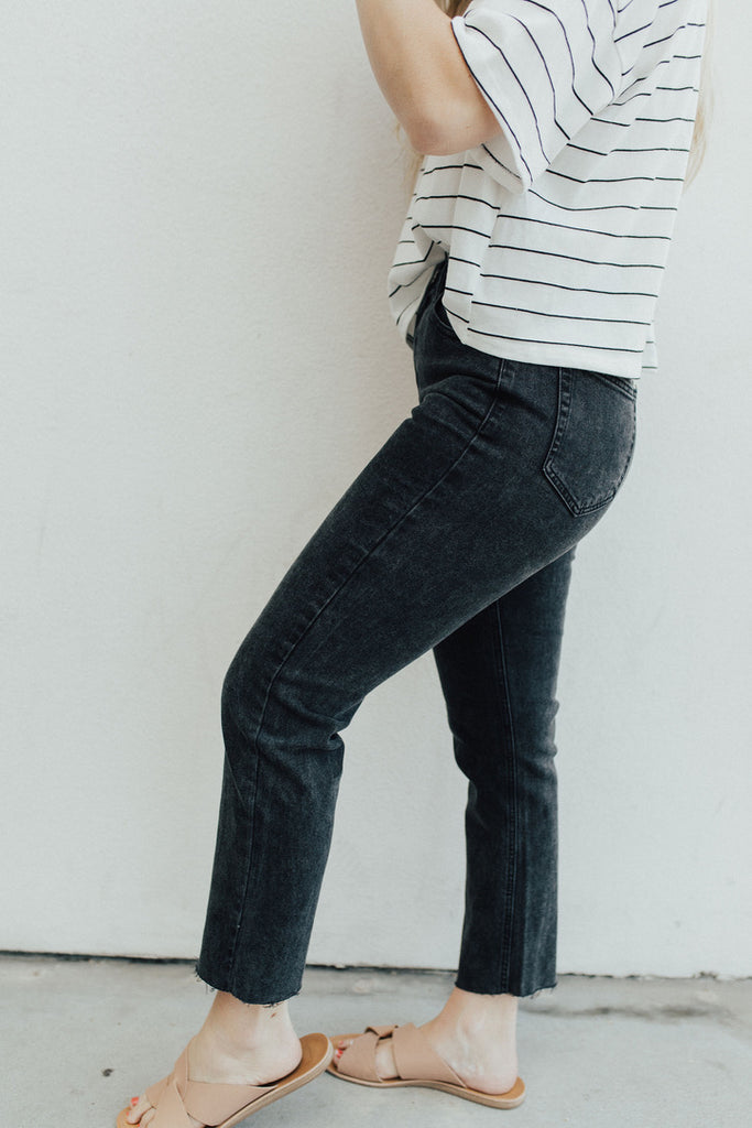 """Josie"" High Rise Straight Leg Jeans, Black Wash"