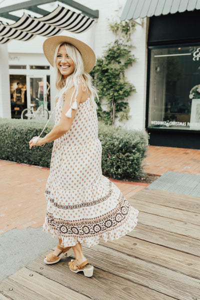 """Isabelle"" Maxi Dress, Blush Print"
