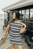 """Gracey"" T-Shirt Dress, Black Stripes"