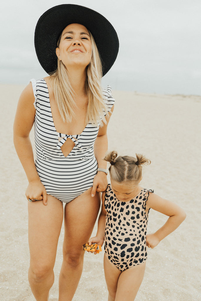 """Layla"" Swimsuit, Navy and Cream Stripe"
