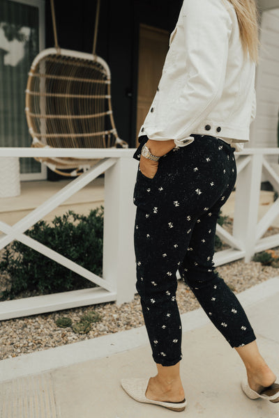 """Kate"" Pants, Black and Ivory Print"