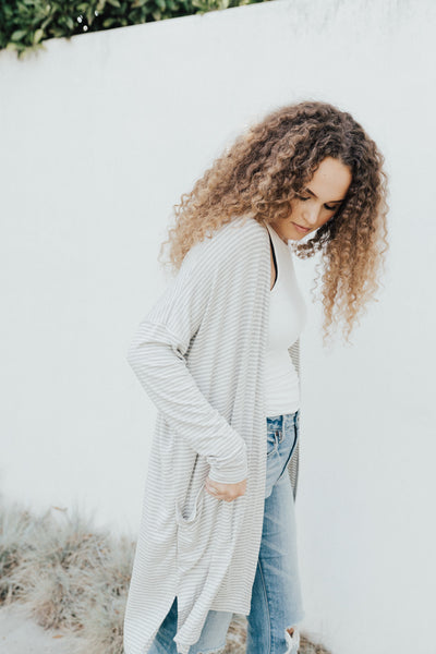 """Sailor"" Kimono Cardigan, Heather Grey and White"