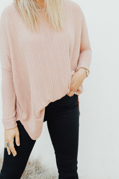 """Evelyn"" Knit Pullover Sweater, Rose"