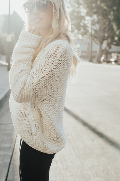 """Jaymee"" Cable Knit Sweater, White"