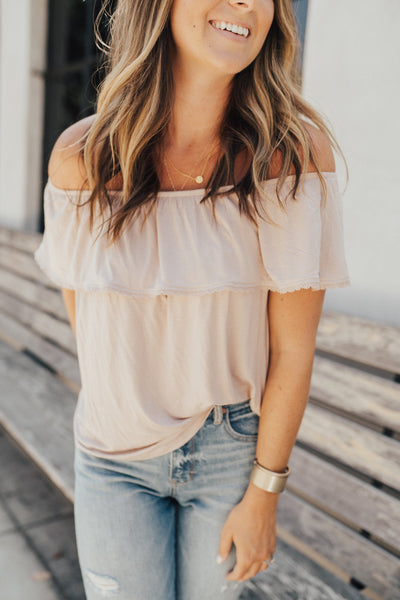 """Sutton"" Off the Shoulder Top"