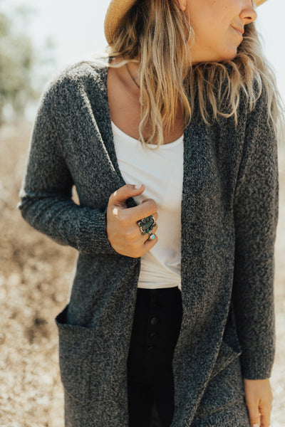 """Brielle"" Cardigan Sweater, Charcoal"