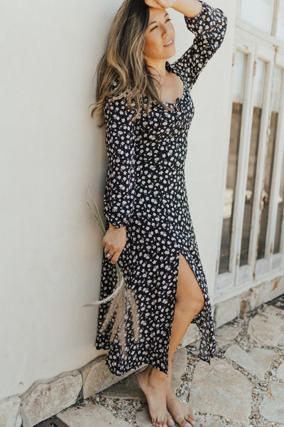 """Lola"" Long Sleeve Midi Dress, Black Floral"