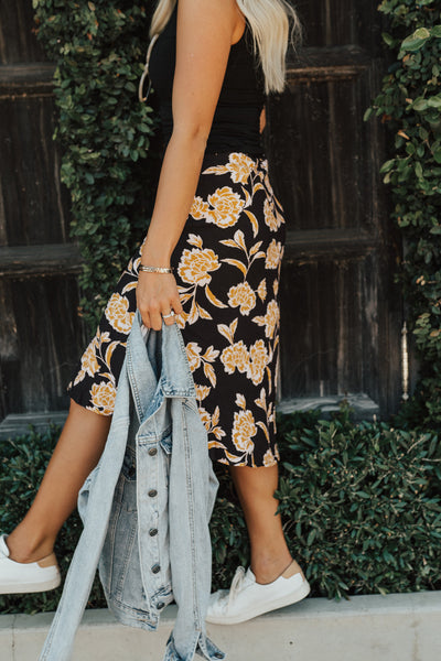 """Brooklyn"" Skirt, Black Floral"