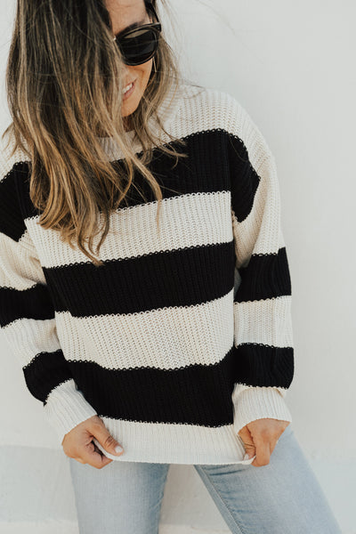 """Normandy"" Knit Sweater, Black Stripe"