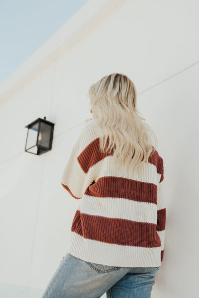 """Normandy"" Knit Sweater, Marsala Stripe"