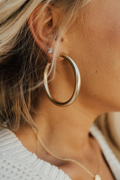 """Katy"" Hoops, Gold"