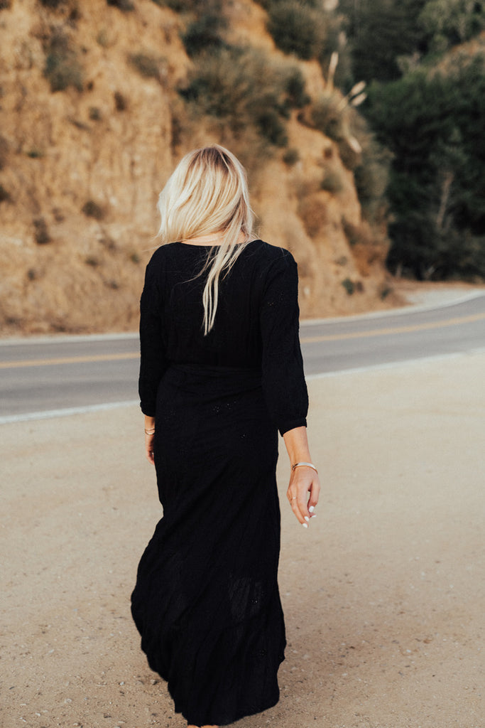 """Danae"" Wrap Maxi Dress, Black"