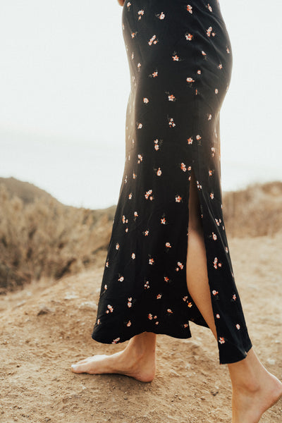 """Willow"" Midi Skirt, Black Floral"