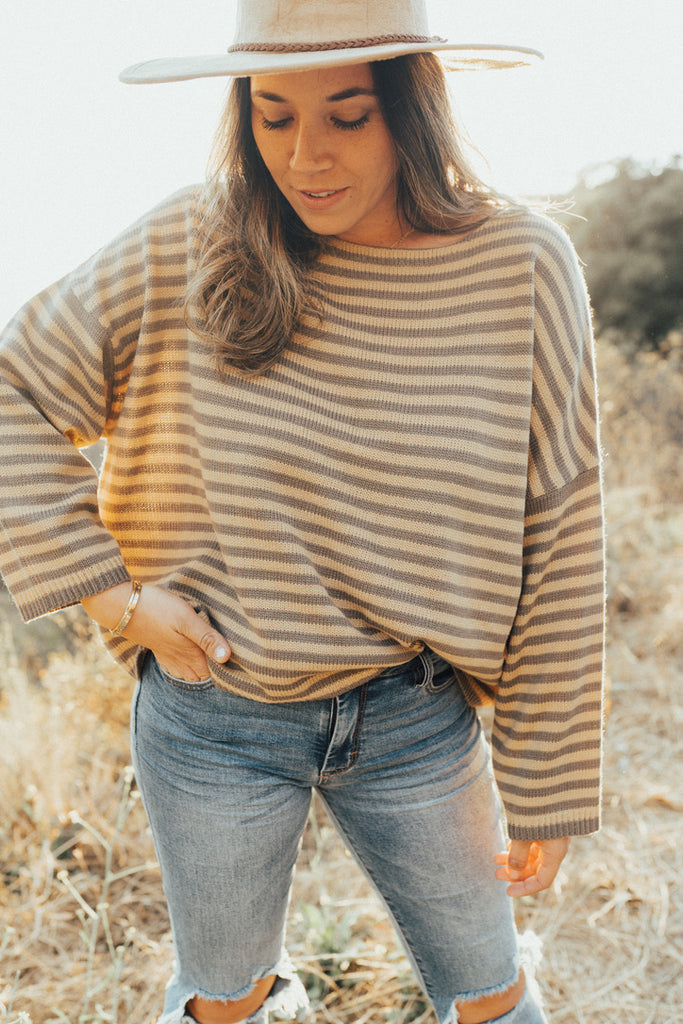 """Oliver"" Oversized Cropped Sweater, Gold Taupe"