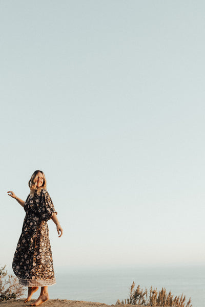 """Auden"" Boho Maxi Dress, Black Floral"