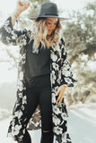 """Amber"" Long Kimono, Black and White Floral"