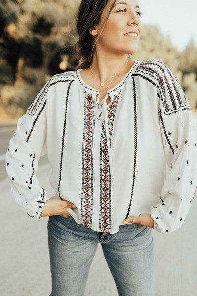 """Ivy"" Embroidered Boho Blouse, Natural"