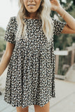 """Penny"" Babydoll Floral Dress, Black and Ivory"