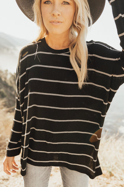 """Evelyn"" Pullover Sweater, Black and White"