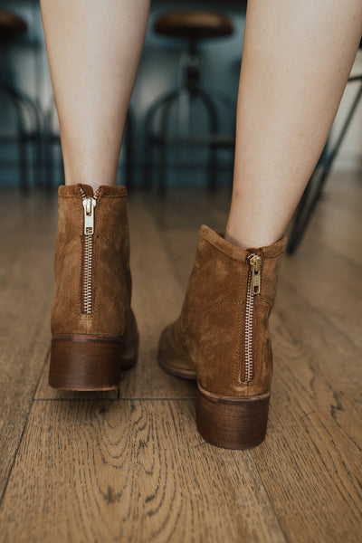"""Slow Down"" Suede Bootie, Tan"