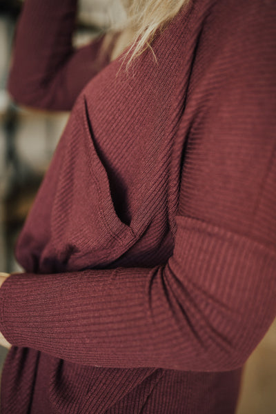 """Carson"" Pullover Sweater, Burgundy"