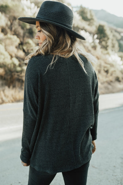 """Evelyn"" Pullover Sweater, Charcoal"