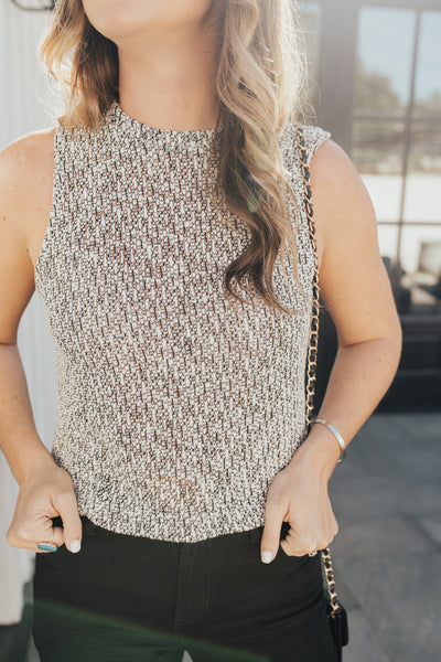 """Avery"" Cropped Knit Sweater Tank, Black and White"