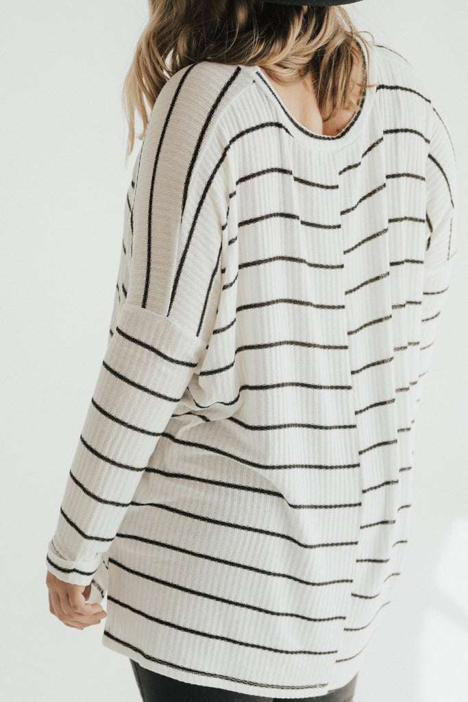 """Evelyn"" Ribbed Pullover Sweater, Ivory and Black"