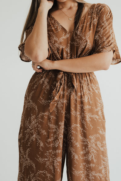 """Dawn"" Leaf Printed Jumpsuit"