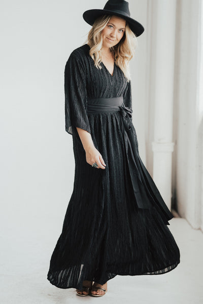 """Ashlynn"" Embroidered Maxi Dress, Black"