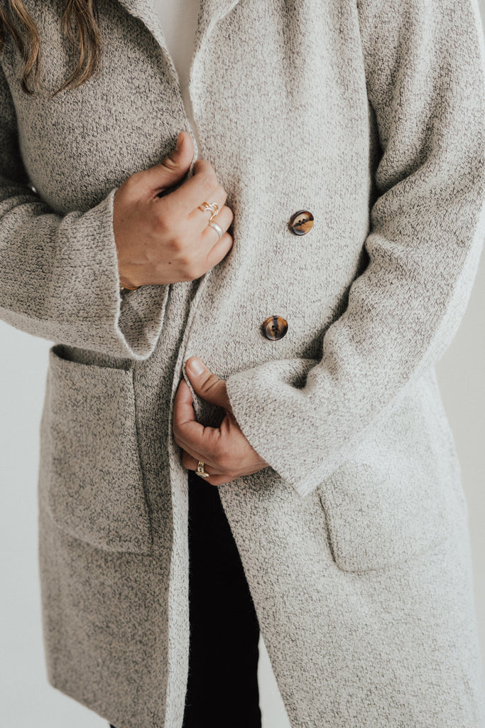 """Lincoln"" Sweater Coat, Heathered Oatmeal"