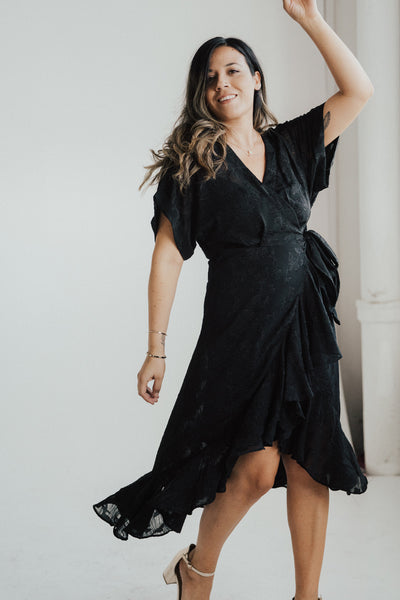 """Celia"" Chiffon Ruffled Wrap Dress"