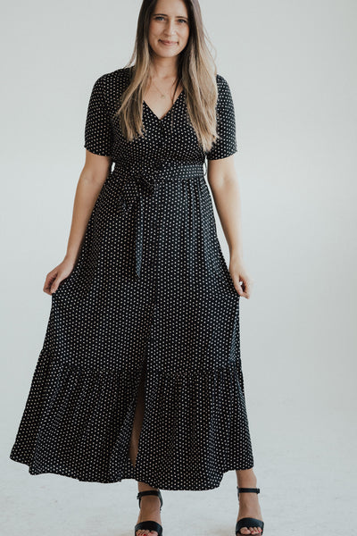 """Layla"" Printed Tiered Maxi Dress, Black and White"