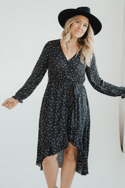 """Isla"" Printed High Low Dress, Black"