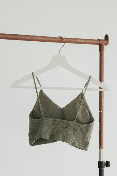 """Daphne"" Lace Embroidered V Neck Bralette"