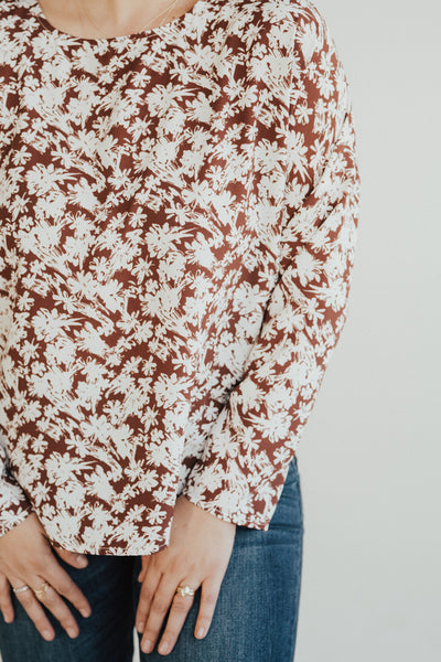 """Ellis"" Printed Blouse, Rust"