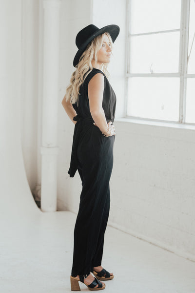 """Julianna"" Waist Tie Jumpsuit, Black"