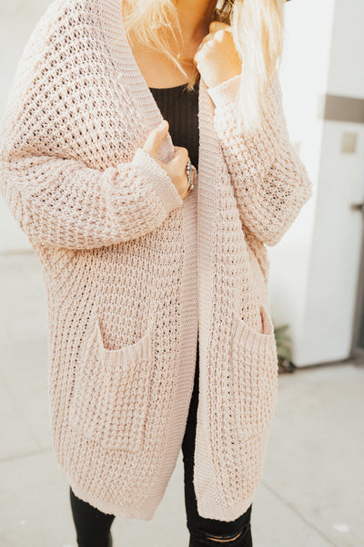 """Gwenyth"" Cardigan Sweater, Light Pink"
