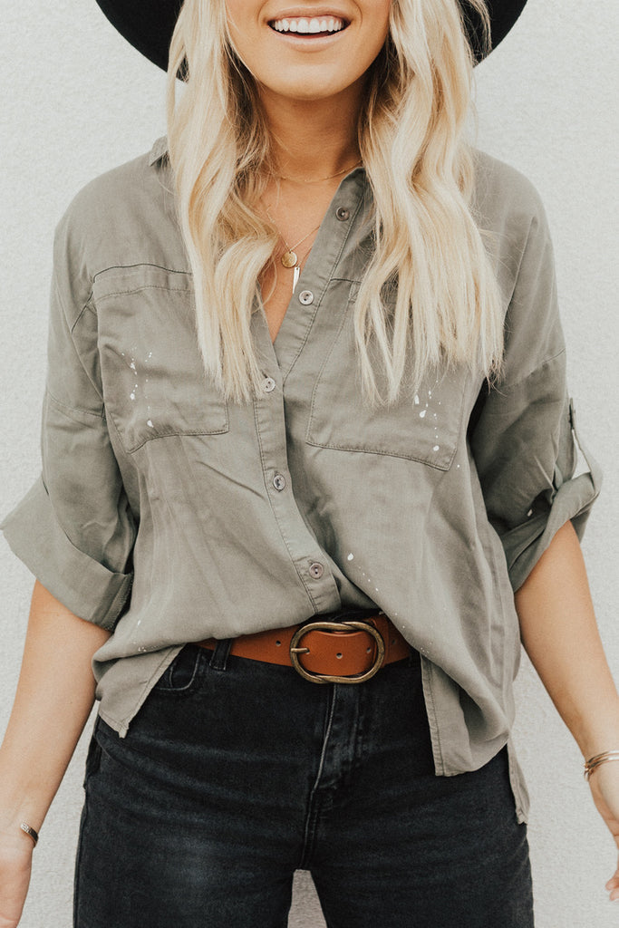 """Anna"" Button Down Top, Olive"
