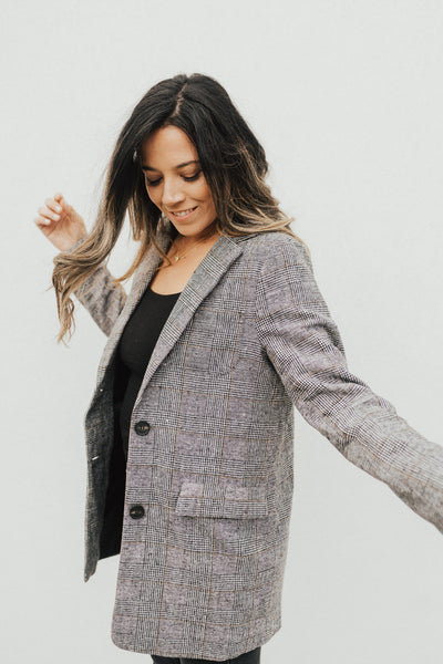 """Pearl"" Blazer, Plaid"